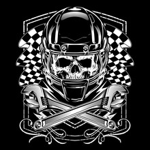Skull With Helmet.vector Hand Drawing