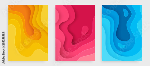 Fotomural  Paper cut banner set with 3D slime abstract background and blue, pink, yellow waves layers