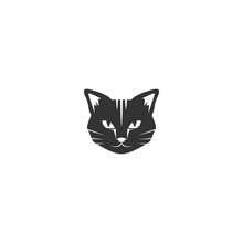 Black Cat's Head Icon Isolated On White. Tough, Cool Tom Cat With Severe Look.