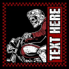 Skull Bikers Wearing Helmet Ha...