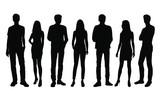 Vector sylwetki mężczyzn i kobiet, grupa stojących ludzi biznesu, kolor czarny na białym tle