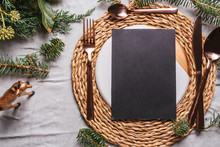 Menu Place Setting With Empty Card And Golden Cutlery