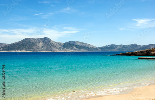 Greece - Koufonissi island:  A view over clear blue waters to the island of Kero Canvas Print