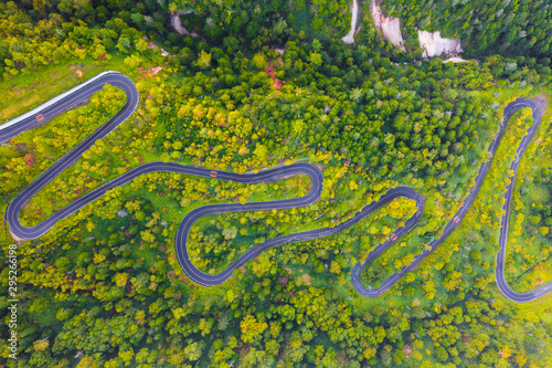 Αφίσα  Aerial view of winding road on mountain in Autumn