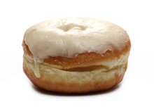 Doughnut With Vanilla Cream Icing Isolated On White Background