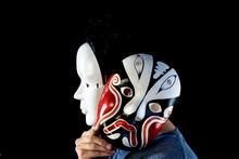 Man Wearing Scary Mask, Hallow...
