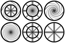 Hypnotic Shapes Black Graphic Isolated On White Background. Swirling Circles. Abstract Spirals. Twirl And Swirl Rotation Icons.