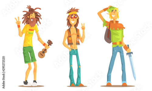 Photo  Men of Different Subcultures Set, Hippie, Rastafarian, Tolkienist Male Character