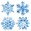 canvas print picture - Set of watercolor snowflakes. Frost crystals drawn on paper by hand. New Year and Christmas card. Cute winter print.