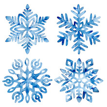 Set Of Watercolor Snowflakes. Frost Crystals Drawn On Paper By Hand. New Year And Christmas Card. Cute Winter Print.