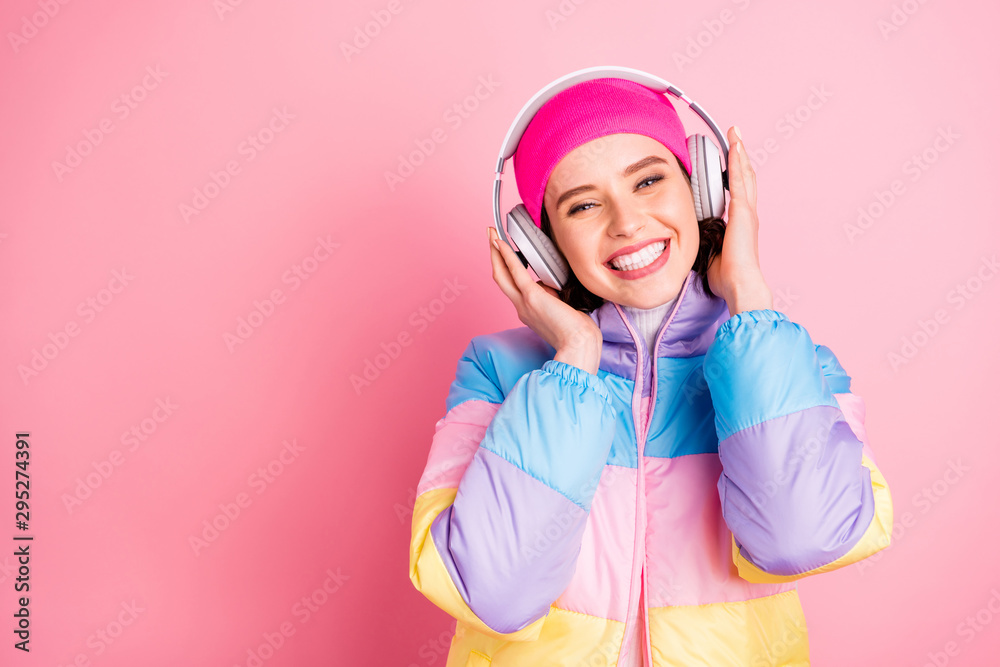 Fototapety, obrazy: Close-up portrait of her she nice attractive lovely cheerful cheery glad girl enjoying new romantic track mp3 audio isolated over pink pastel background