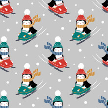 Seamless Vector Pattern With Cute Penguins On Snowmobile. Perfect For Textile, Wallpaper Or Print Design.
