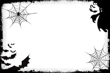 Grunge Halloween Background With Bats And Spider, Ghost On White .