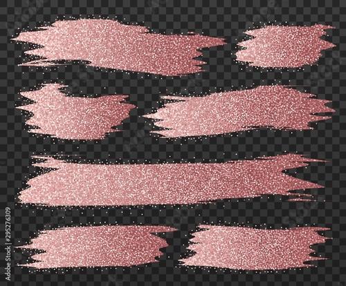 Rose gold glitter brush strokes set Wallpaper Mural