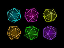 Neon Icosahedron Vector Illustration. Transparent Low Poly Geometric Shapes. Three-dimensional Forms Polyhedrons.