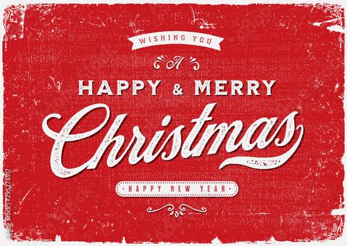 Vintage Merry Christmas Postcard / Ilustracja eleganckiego świątecznego tła z piękną typografią i teksturą grunge, na święta Bożego Narodzenia i sylwestra
