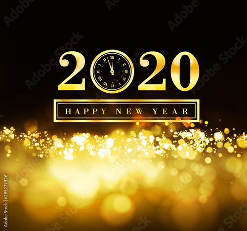 Happy New Year 2020 with gold particles and a clock in the number zero Canvas Print