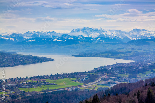 Panorama of Zurich city and lake from odservation tower on Uetliberg mountain #295280741