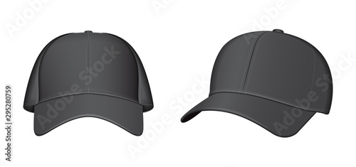 Fotografia  Black baseball cap set. Vector realistic illustration