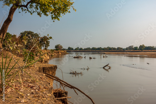 Ultra long exposure of luangwa river in Zambia with trunk debris