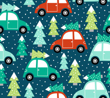 Hand Drawn Seamless Vector Pattern With Cute Cars And Christmas Trees. Perfect For Fabric Or Wrapping Paper.