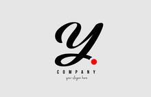 Y Black And White Alphabet Letter With Red Circle For  Company Logo Icon Design