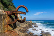 Old rusty construction on a coast