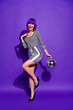 Leinwanddruck Bild - Full body photo of charming lady with eyewear eyeglasses hold mirror ball dressed in striped shirt isolated over purple violet background