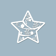 Lasercut Toy Star Christmas Theme Design Element Of A Lasercut Lace Christmas Toy Star For Laser Cutting New Year Greeting Card Holiday Decoration Stencil For Laser Cutting Printing Isolated Vector