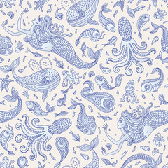 Vector seamless nautical fairy tale pattern. Fantasy mermaid, octopus, fish, ...