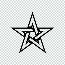 Pentagram Star Icon Flat Vector
