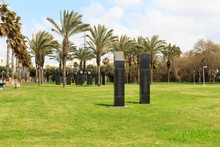 Fallen Soldiers Memorial Garden With Granite Monuments And Palm Trees In Yarkon Park, Tel Aviv, Israel