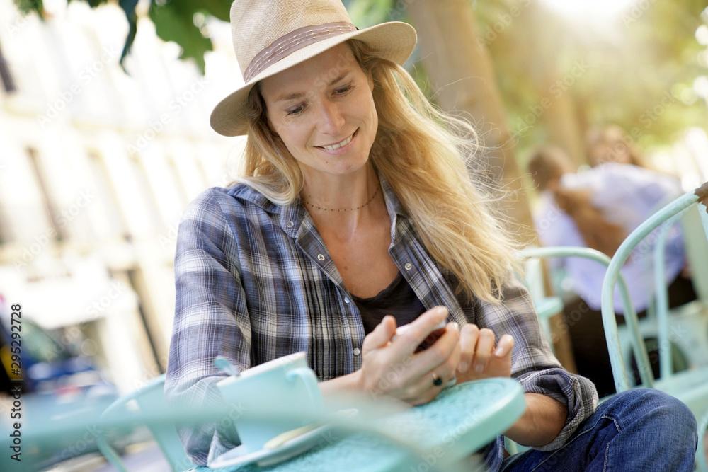 Fototapety, obrazy: Portrait of beautiful blond woman at coffee shop