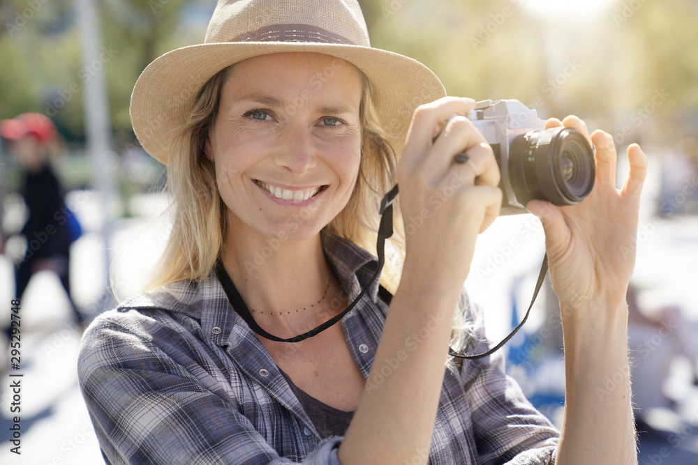 Fototapety, obrazy: Portrait of beautiful blond woman reporter