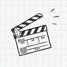 Movie Clapperboard Doodle Icon...