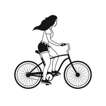 Vector Flat Black Outline Girl Woman Riding A Bicycle Isolated On White Background