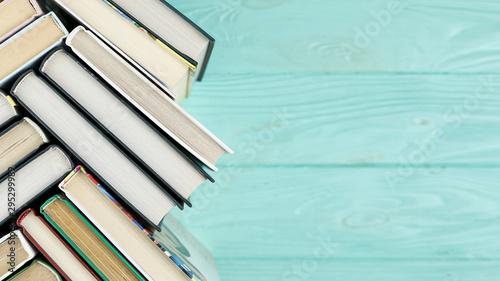 Top view books with copy space Billede på lærred