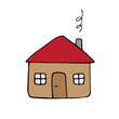 Vector hand drawn doodle colored sketch house isolated on white background