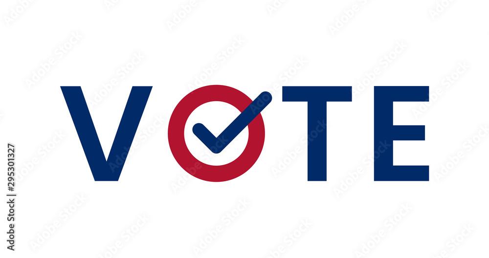 Valokuva Blue Vote word with checkmark symbol inside.