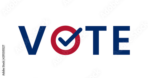 Valokuvatapetti Blue Vote word with checkmark symbol inside.