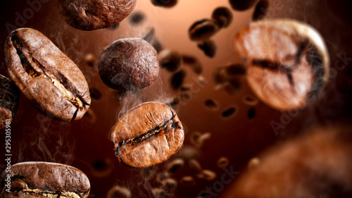 Brown coffee grains and free space for your decoration.  - 295305981