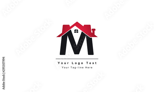 Fotografía  home logo design, the letter M is designed to be a symbol or Icon of the house