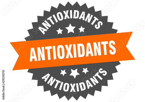 Fototapeta antioxidants sign. antioxidants orange-black circular band label obraz