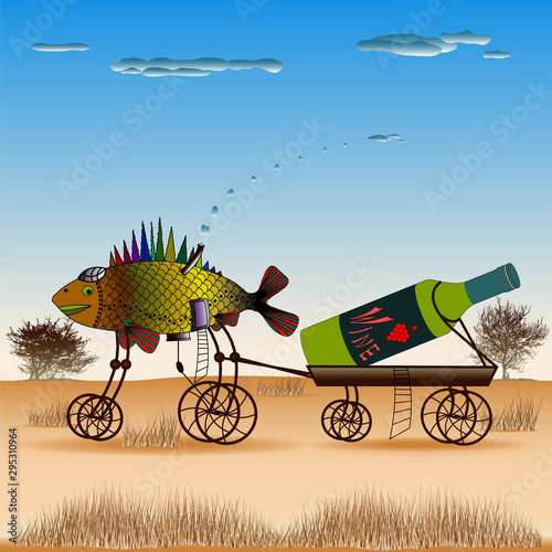 Fish is pulling a cart with a bottle of wine on the steppe Wallpaper Mural