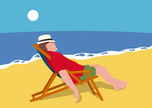 Un Homme En Vacances Au Bord D...