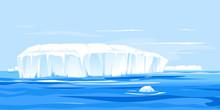 One Giant Iceberg In Ocean Landscape Illustration, Global Warming Concept Illustration, Iceberg Drifts Into The Sea, Large Iceberg Broke Away