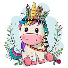 Cartoon Unicorn With Feathers ...