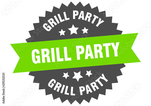grill party sign. grill party green-black circular band label Wallpaper Mural