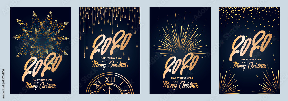 Fototapeta 2020 new year. Fireworks, golden garlands, sparkling particles. Set of Christmas sparkling templates for holiday banners, flyers, cards, invitations, covers, posters. Vector illustration.