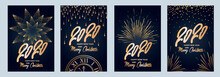2020 New Year. Fireworks, Golden Garlands, Sparkling Particles. Set Of Christmas Sparkling Templates For Holiday Banners, Flyers, Cards, Invitations, Covers, Posters. Vector Illustration.